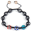 Hematite Woven Ball Bracelets, with Rhinestone Clay Pave Bead & Nylon Cord & Shell, with Austria rhinestone, Length:Approx 6-9 Inch, Sold By Strand