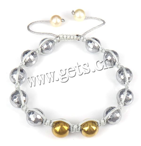 Hematite Shamballa Bracelet, with Nylon Cord & Shell, faceted, 10mm, 8mm, Sold Per Approx 6-9 Inch Strand