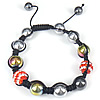 Hematite Shamballa Bracelets, with Rhinestone Clay Pave Bead & Nylon Cord, Round, colorful plated, with Austria rhinestone, 10mm, 8mm, Length:Approx 6-9 Inch, Sold By Strand
