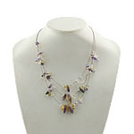 Bead Memory Wire Necklace, Tiger Tail Wire, with Crystal & Ametrine & Plastic, brass clasp, with 3inch extender chain, 3-yarn, Length:Approx 19 Inch, Sold By Strand