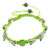 Rhinestone Shamballa Bracelets, with Nylon Cord & Hematite & Zinc Alloy, handmade, green, 10mm, 10x14x5mm, 8mm, Length:Approx 6-10 Inch, Sold By Strand