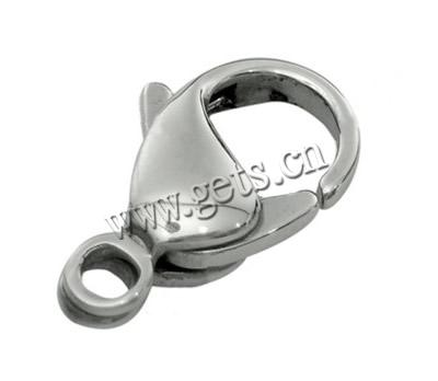 Stainless Steel Lobster Claw Clasp, 304 Stainless Steel, machine polishing, original color, 8x15mm, Hole:Approx 2mm, Sold By PC