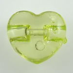 Acrylic Shank Button, Heart, transparent, more colors for choice, 13x11.5x5.5mm, Hole:Approx 1mm, Approx 1000PCs/Bag, Sold By Bag