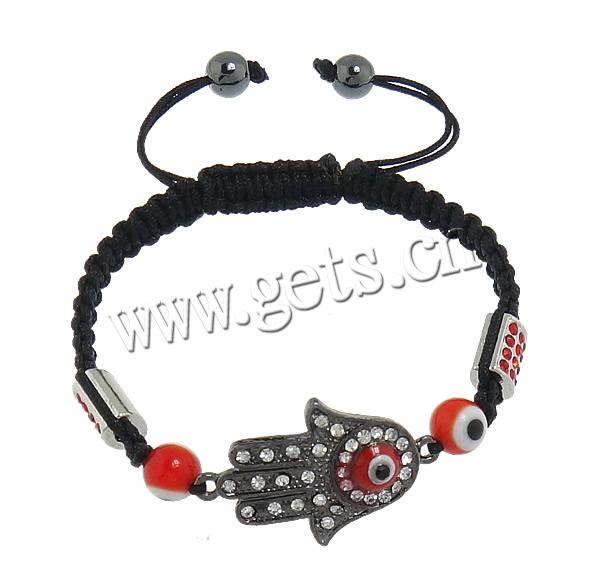 Hamsa Bracelets, Zinc Alloy, with Nylon Cord & Lampwork, Hand, enamel & with rhinestone, Length:Approx 7-10 Inch, Sold By Strand