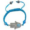 Hamsa Bracelets, Zinc Alloy, with Nylon Cord & Lampwork, Hand, enamel & with rhinestone, blue, 38x22x5mm, 8mm, Length:Approx 6.6-10 Inch, Sold By Strand