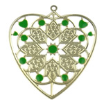 Enamel Iron Pendants, Heart, with flower pattern, more colors for choice, 60x66.5x0.5mm, Hole:Approx 2.5mm, Sold By PC