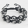Hematite Shamballa Bracelets, with Nylon Cord, handmade, 2-strand, 10mm, 8mm, Length:Approx 7-10 Inch, Sold By Strand