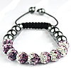 Rhinestone Shamballa Bracelets, with Nylon Cord & Hematite, handmade, 10mm, 8mm, Length:Approx 7.5 Inch, Sold By Strand