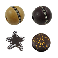 Rhinestone Wood Beads