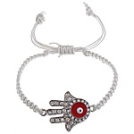 Hamsa Bracelets, Zinc Alloy, with Wax Cord, Hand, plated, Customized & enamel & with rhinestone, more colors for choice, Length:Approx 7-10 Inch, Sold By Strand