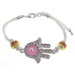 Hamsa Bracelets, Zinc Alloy, brass lobster clasp, Hand, plated, Customized & enamel & with rhinestone, more colors for choice, 26x37mm, 3mm, 4x9mm, Sold Per Approx 7 Inch Strand