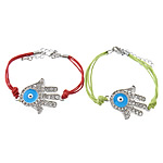 Hamsa Bracelets, Zinc Alloy, with Wax Cord, brass lobster clasp, Hand, plated, Customized & enamel & with rhinestone, more colors for choice, Length:Approx 7 Inch, Sold By Strand