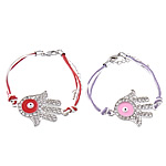 Hamsa Bracelets, Zinc Alloy, with Wax Cord, brass lobster clasp, Hand, plated, Customized & enamel & with rhinestone, more colors for choice, Length:Approx 6 Inch, Sold By Strand