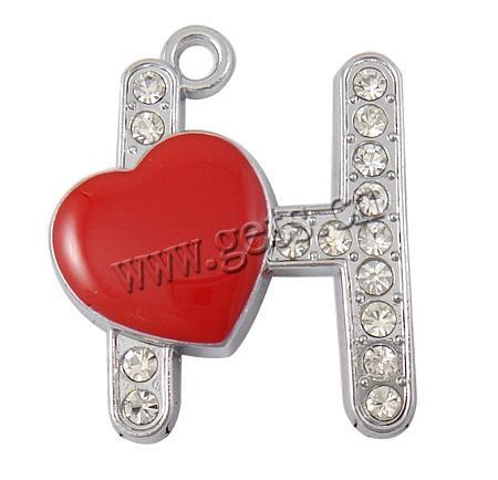 h alphabet in heart  Zinc Alloy Alphabet Pendants,