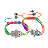 Hamsa Bracelets, Zinc Alloy, with Nylon Cord, Hand, plated, enamel & with rhinestone, more colors for choice, 8mm, 35x22x5mm, Sold Per Approx 7-12 Inch Strand