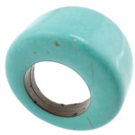Turquoise Finger Ring, synthetic, green, US Ring Size:5.5, Sold By PC