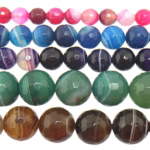Natural Lace Agate Beads, Round, Customized & more sizes for choice & faceted, mixed colors, Hole:Approx 1-1.5mm, Length:Approx 15 Inch, Sold By Strand
