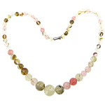 Gemstone Necklaces, Watermelon, zinc alloy screw clasp, Round, mixed colors, 6-14mm, Length:Approx 17 Inch, Sold By Strand