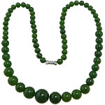 Gemstone Necklaces, Jade, zinc alloy screw clasp, Round, green, 6-14mm, Sold Per Approx 19 Inch Strand