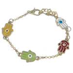 Hamsa Bracelets, Zinc Alloy, zinc alloy lobster clasp, Hand, gold color plated, enamel, nickel, lead & cadmium free, 10x17x2mm, Length:7.5 Inch, Sold By Strand
