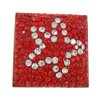 Rhinestone Cabochon, with Brass, Square, with rhinestone & two tone, Sold By PC