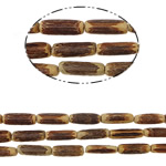 Dyed Wood Beads, Tube, Hole:Approx 1mm, Length:30 Inch, 51PCs/Strand, Sold By Strand