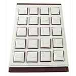 Leather Ring Display, Satin Leather, with Cardboard, Rectangle, white, 350x240x30mm, Sold By PC