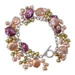 Cultured Freshwater Pearl Bracelets, brass toggle clasp, mixed colors, 7-8mm, Length:8 Inch, Sold By Strand