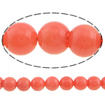 Natural Coral Beads, Round, reddish orange, Grade AA, Hole:Approx 0.5mm, Length:Approx 16 Inch, 65PCs/Strand, Sold By Strand