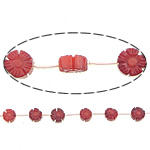 Carved Natural Coral Beads, Flower, red, Grade AA, 10x5mm, Hole:Approx 0.5mm, Length:Approx 15 Inch, Approx 19PCs/Strand, Sold By Strand