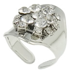 Iron Finger Ring, platinum color plated, with A grade rhinestone, nickel, lead & cadmium free, 21x25x27.5mm, Hole:Approx 20mm, US Ring Size:10, Sold By PC