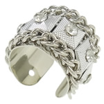 Iron Finger Ring, with Zinc Alloy, platinum color plated, with A grade rhinestone, nickel, lead & cadmium free, 26x23x18mm, Hole:Approx 18mm, US Ring Size:7.5, Sold By PC
