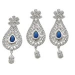 Brass Jewelry Set, pendant & earring, with cubic zirconia, more colors for choice, cadmium free, 22x58x4mm, 1.2mm, 17mm, 22x58x4mm, Hole:Approx 3x9mm, Sold By Set