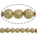 Sea Shell Beads, with Mosaic Shell & Yellow Shell, Round, 20mm, Hole:Approx 2mm, Approx 25PCs/Strand, Sold Per 19.6 Inch Strand