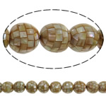 Sea Shell Beads, with Mosaic Shell & Yellow Shell, Round, 20mm, Hole:Approx 2mm, Approx 20PCs/Strand, Sold Per 15.7 Inch Strand