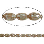 Sea Shell Beads, with Mosaic Shell & Yellow Shell, Oval, 14x20mm, Hole:Approx 2mm, Approx 20PCs/Strand, Sold Per 15.7 Inch Strand