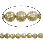 Sea Shell Beads, with Mosaic Shell & Yellow Shell, Round, yellow, 25mm, Hole:Approx 2mm, Approx 16PCs/Strand, Sold Per 15.7 Inch Strand