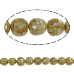 Sea Shell Beads, with Mosaic Shell & Yellow Shell, Round, yellow, 15mm, Hole:Approx 1mm, Approx 30PCs/Strand, Sold Per 17.7 Inch Strand