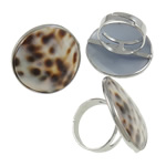 Shell Finger Ring, Zinc Alloy, with Shell, Flat Round, platinum color plated, nickel, lead & cadmium free, A Grade, 31x31x26mm, Hole:Approx 19mm, Size:9, Approx 50PCs/Box, Sold By Box