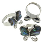 Shell Finger Ring, Zinc Alloy, with Abalone Shell, Butterfly, platinum color plated, with rhinestone, nickel, lead & cadmium free, 24x20x24mm, Hole:Approx 19mm, Size:9, Approx 50PCs/Box, Sold By Box