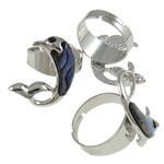 Shell Finger Ring, Zinc Alloy, with Abalone Shell, Dolphin, platinum color plated, with rhinestone, nickel, lead & cadmium free, AA Grade, 32x25x25mm, Hole:Approx 19mm, Size:9, Approx 50PCs/Box, Sold By Box