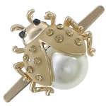 Zinc Alloy Clip Buckle, with Glass Pearl, Animal, gold color plated, enamel & with rhinestone, cadmium free, 20.5x22x10mm, Sold By PC