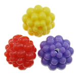 Plastic Pony Beads, Flower, solid color, mixed colors, Hole:Approx 2mm, 1100PCs/Bag, Sold By Bag