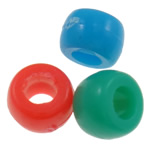 Plastic Pony Beads, Rondelle, solid color, mixed colors, 8x10mm, Hole:Approx 4mm, Approx 1200PCs/Bag, Sold By Bag
