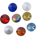 Crystal Cabochons, Flat Round, real silver plated, rivoli back & faceted, more colors for choice, 10x10x6mm, Approx 288PCs/Bag, Sold By Bag