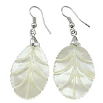 White Shell Earrings, with Brass, Leaf, platinum color plated, 55mm, 21x30x2mm, Sold By Pair
