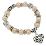 Freshwater Pearl Bracelet, with Elastic Thread & Zinc Alloy, natural, 9-10mm, Length:Approx 7.5 Inch, 12Strands/Bag, Sold By Bag
