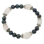 Freshwater Pearl Bracelet, with Elastic Thread, natural, 7-8mm, Length:Approx 7.5 Inch, 12Strands/Bag, Sold By Bag
