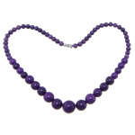 Gemstone Necklaces, Purple Stone, brass screw clasp, Round, smooth, 6-14mm, Length:17.5 Inch, Sold By Strand
