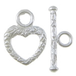 Sterling Silver Toggle Clasp, 925 Sterling Silver, Heart, plated, single-strand, more colors for choice, 12x16x2mm, 19.2x3mm, Hole:Approx 2.5mm, Sold By Set